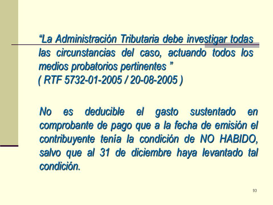La Administración Tributaria debe investigar todas las circunstancias del caso, actuando todos los medios probatorios pertinentes