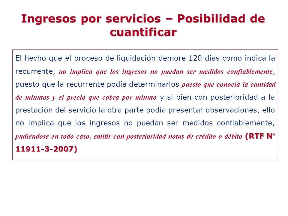Ingresos por servicios – Posibilidad de cuantificar
