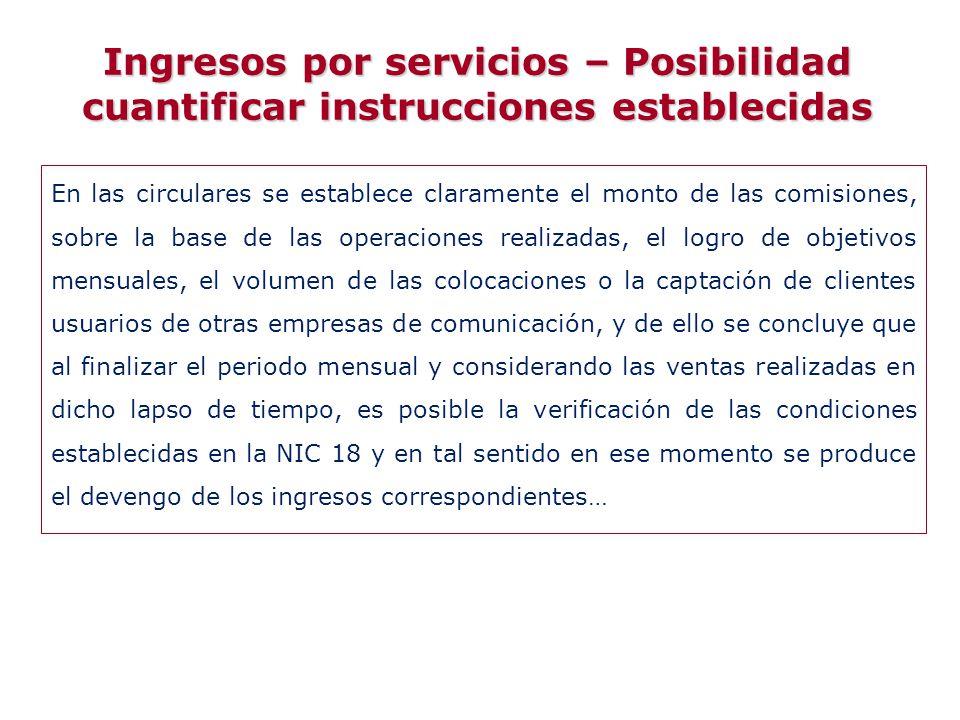 Ingresos por servicios – Posibilidad cuantificar instrucciones establecidas
