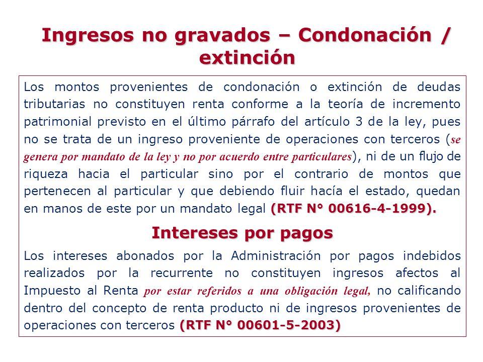 Ingresos no gravados – Condonación / extinción