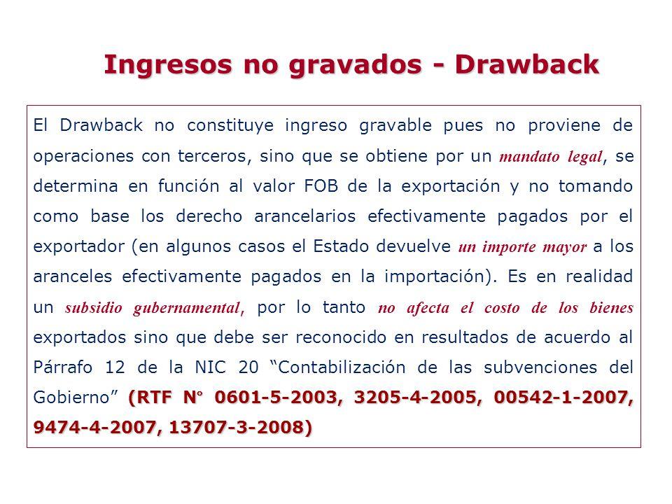 Ingresos no gravados - Drawback