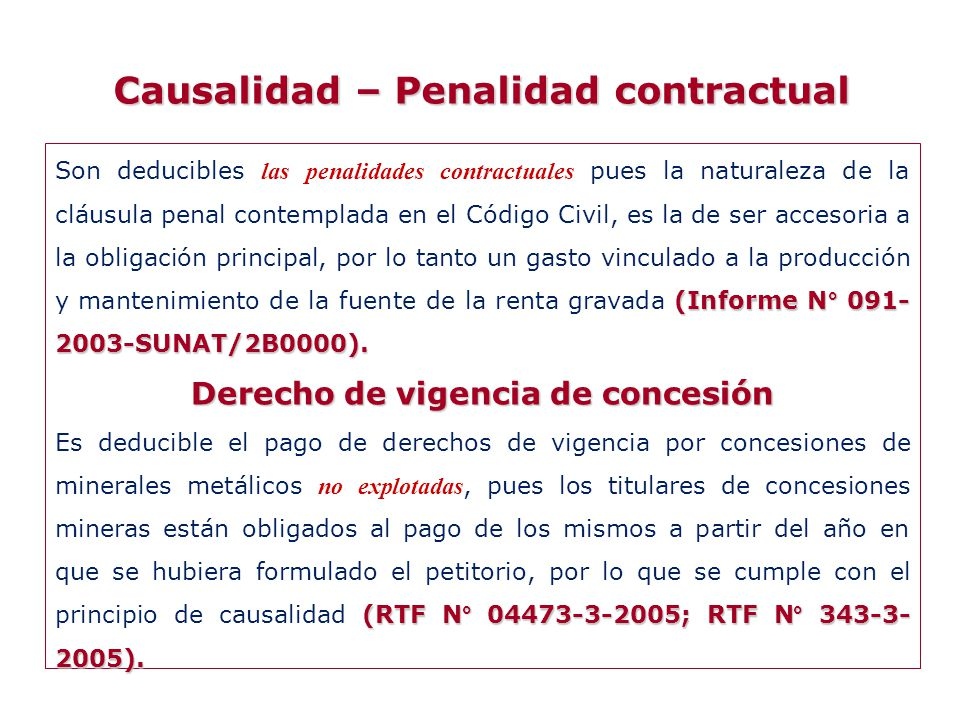 Causalidad – Penalidad contractual