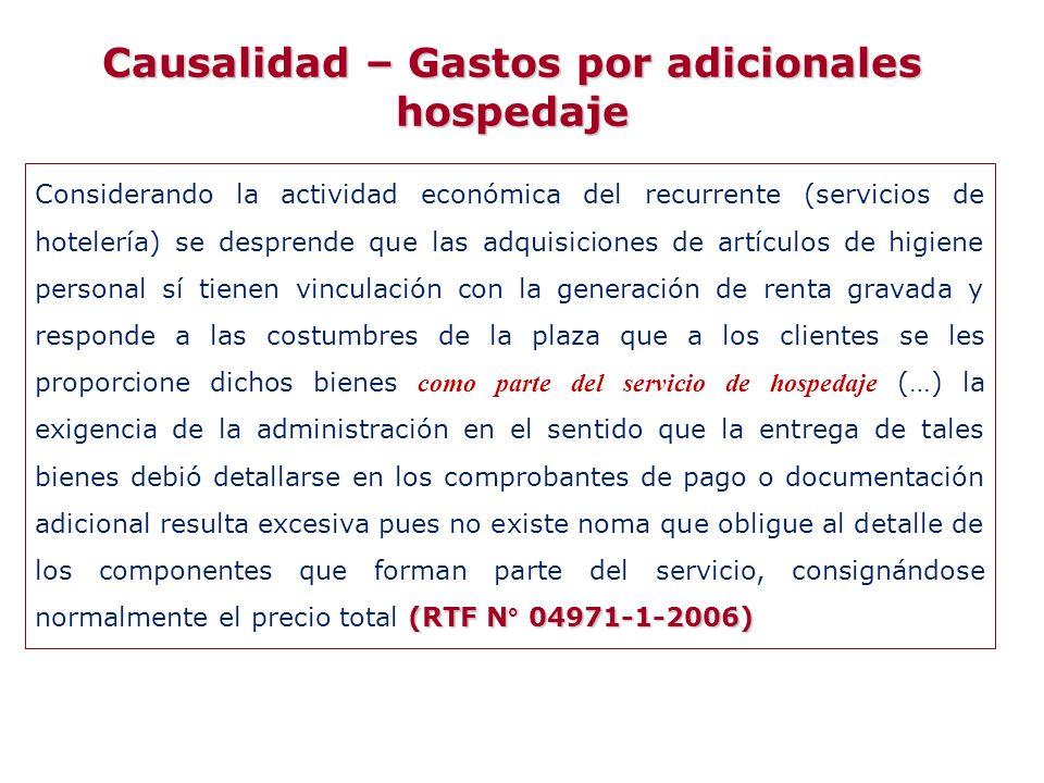 Causalidad – Gastos por adicionales hospedaje