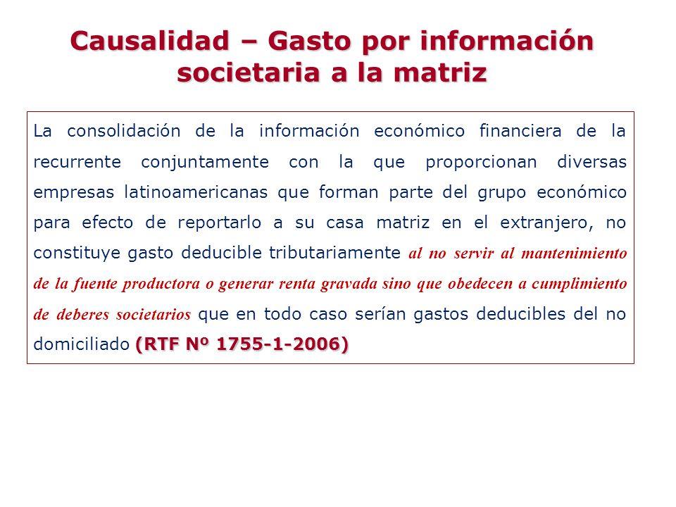 Causalidad – Gasto por información societaria a la matriz