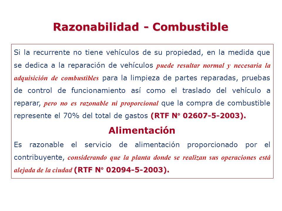 Razonabilidad - Combustible