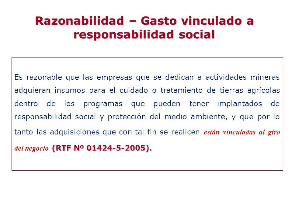 Razonabilidad – Gasto vinculado a responsabilidad social
