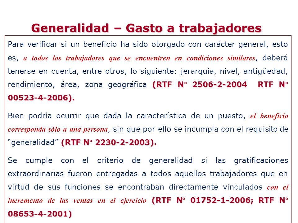 Generalidad – Gasto a trabajadores