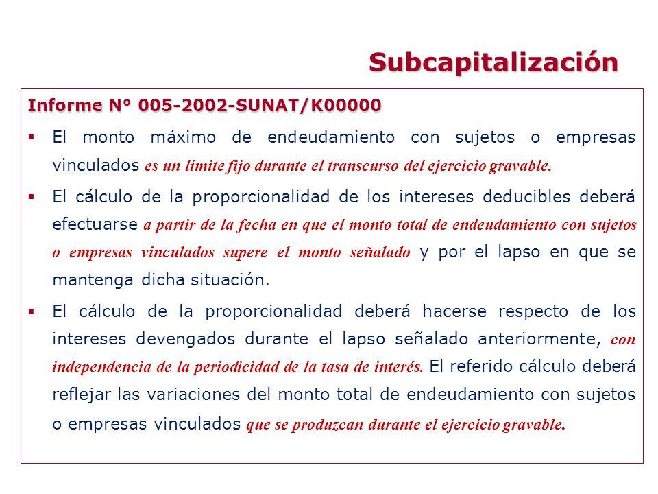 Subcapitalización Informe N° 005-2002-SUNAT/K00000