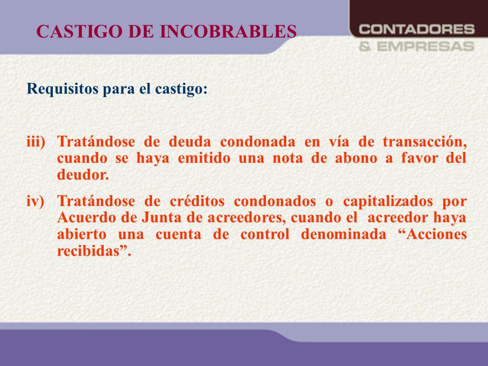 CASTIGO DE INCOBRABLES