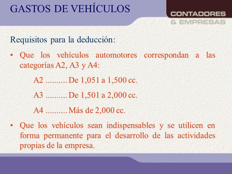 GASTOS DE VEHÍCULOS Requisitos para la deducción: