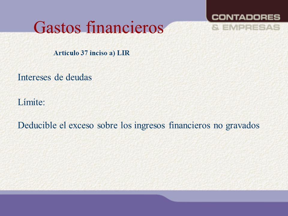 Gastos financieros Intereses de deudas Límite: