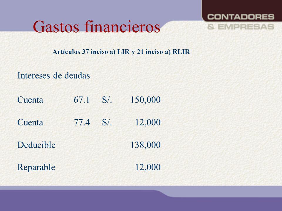 Gastos financieros Intereses de deudas Cuenta 67.1 S/. 150,000