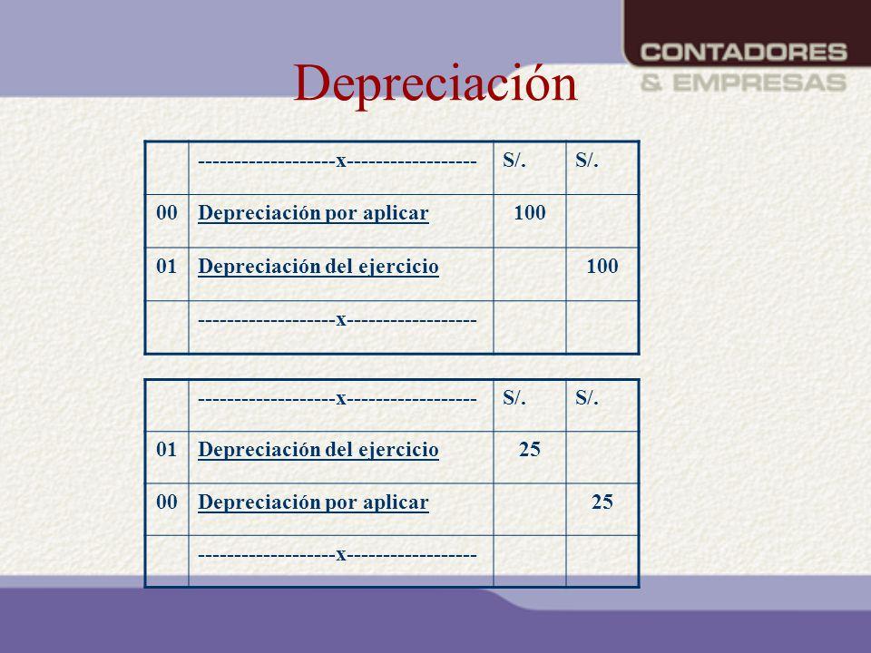 Depreciación -------------------x------------------ S/. 00