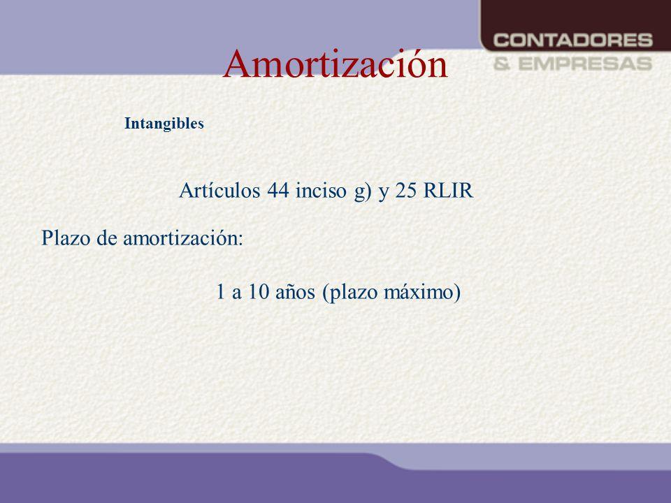 Amortización Artículos 44 inciso g) y 25 RLIR Plazo de amortización: