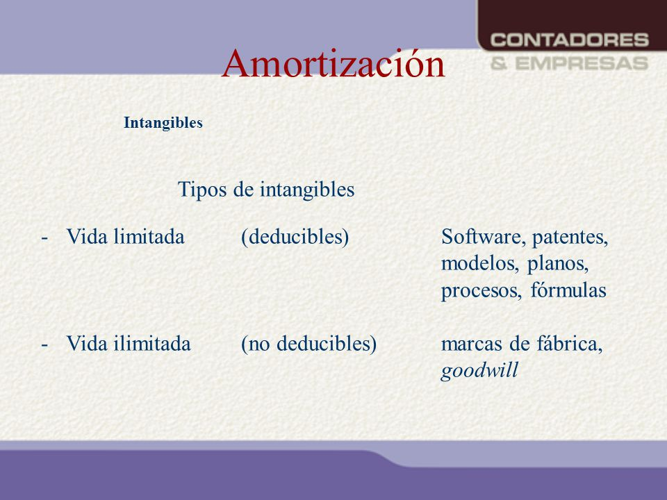 Amortización Tipos de intangibles