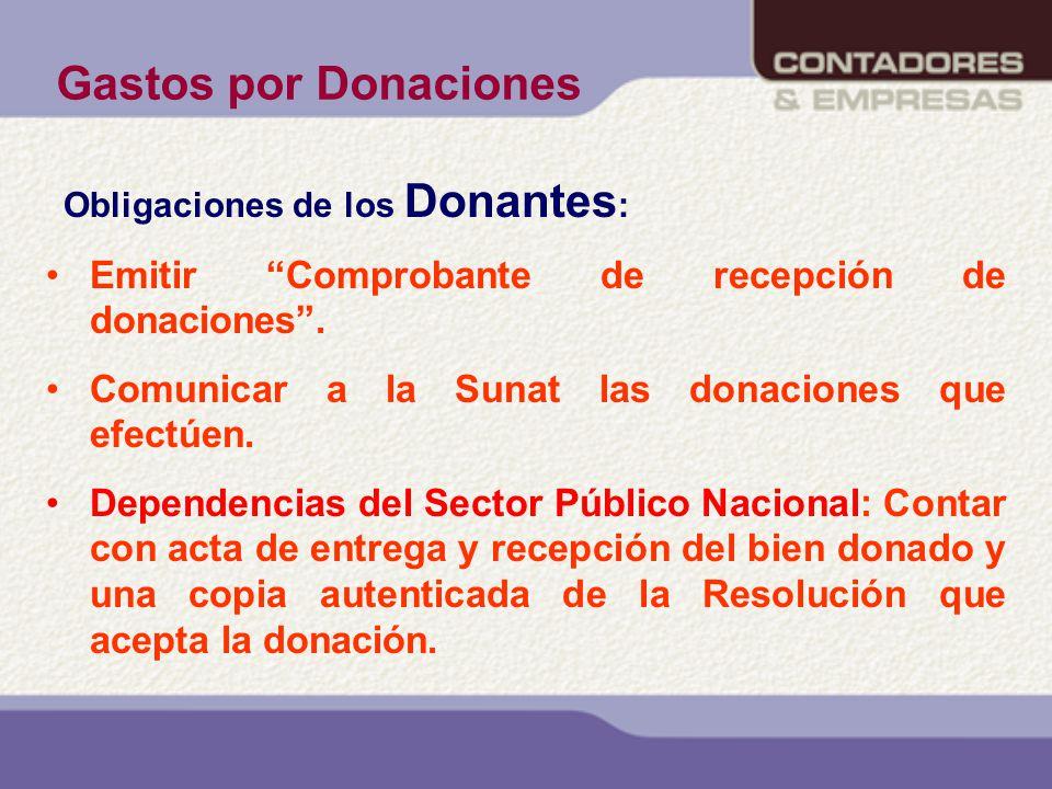 Gastos por Donaciones Emitir Comprobante de recepción de donaciones .