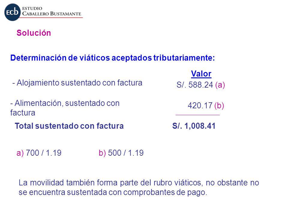 Solución Determinación de viáticos aceptados tributariamente: Valor. - Alojamiento sustentado con factura.