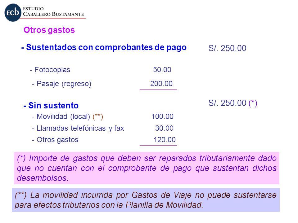 - Sustentados con comprobantes de pago S/. 250.00