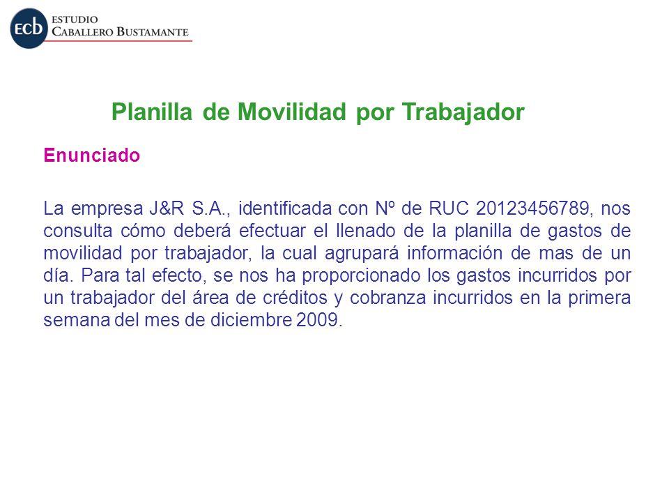 Planilla de Movilidad por Trabajador