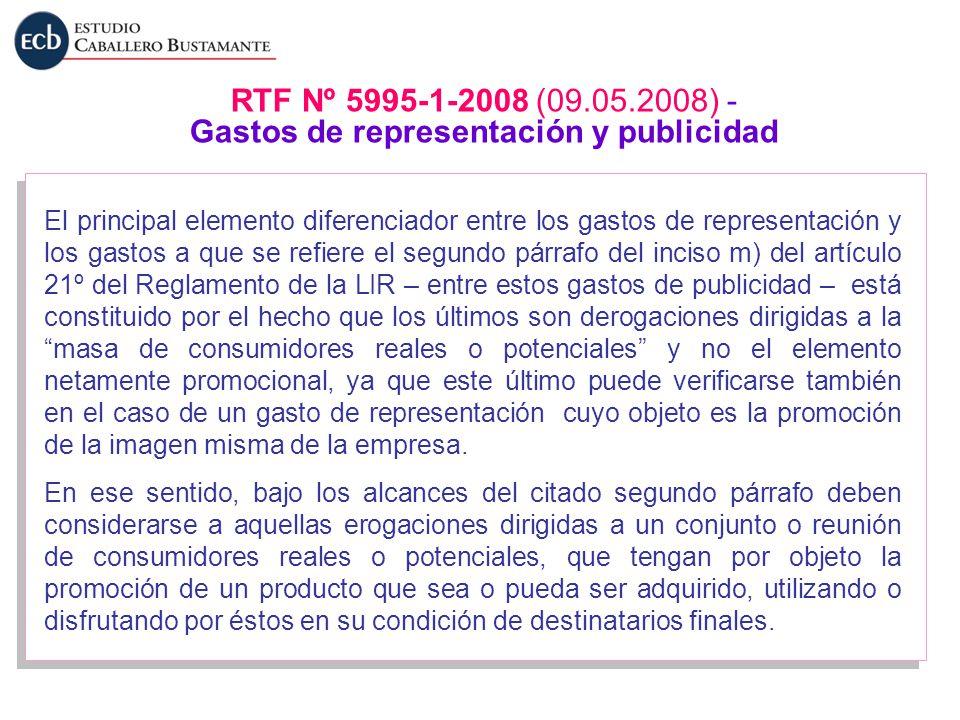 RTF Nº 5995-1-2008 (09.05.2008) - Gastos de representación y publicidad