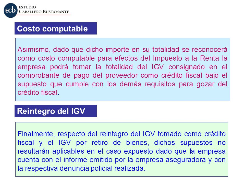 Costo computable Reintegro del IGV