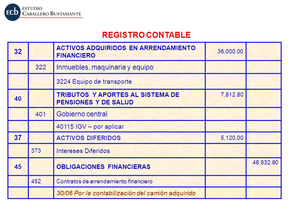 REGISTRO CONTABLE 32 Inmuebles, maquinaria y equipo Gobierno central