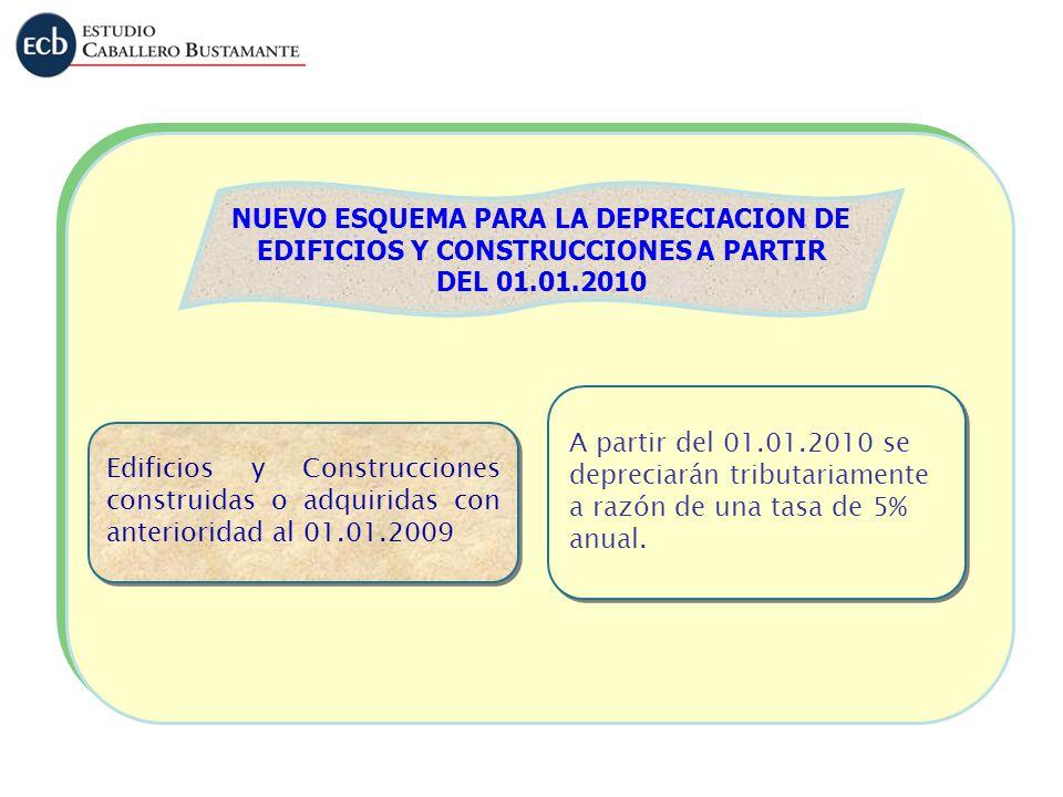 NUEVO ESQUEMA PARA LA DEPRECIACION DE EDIFICIOS Y CONSTRUCCIONES A PARTIR DEL 01.01.2010