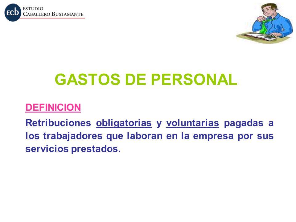 GASTOS DE PERSONAL DEFINICION