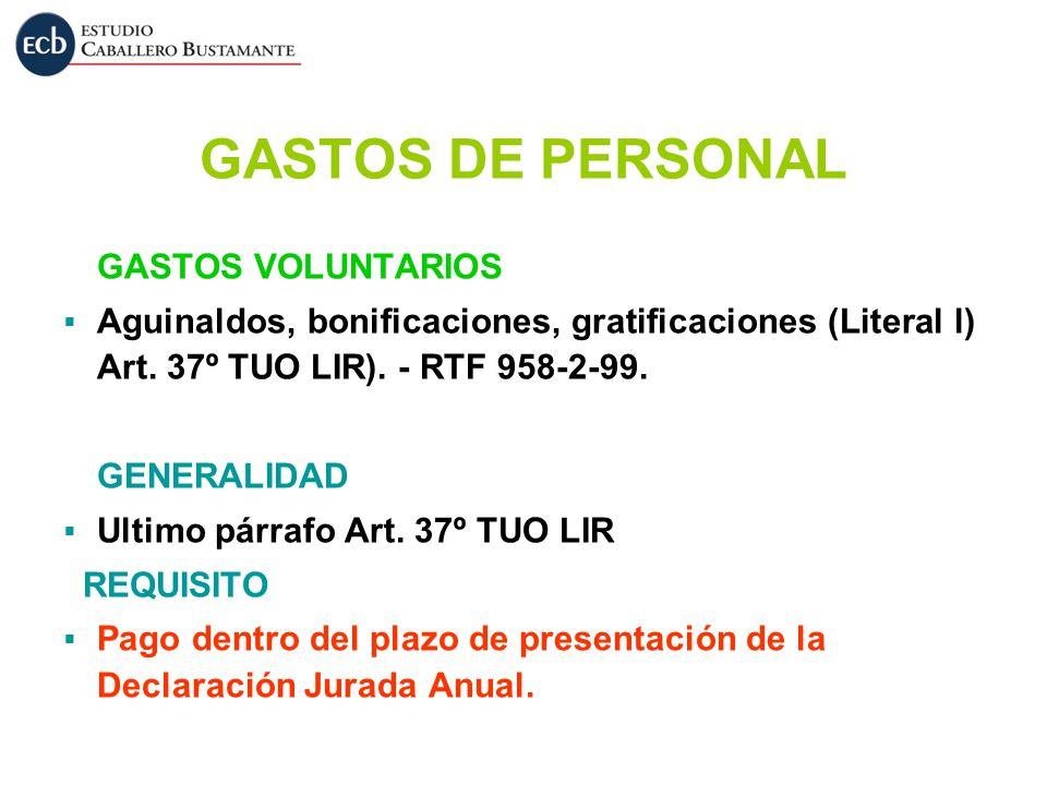 GASTOS DE PERSONAL GASTOS VOLUNTARIOS