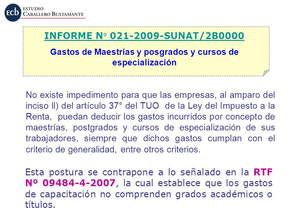 Gastos de Maestrías y posgrados y cursos de especialización