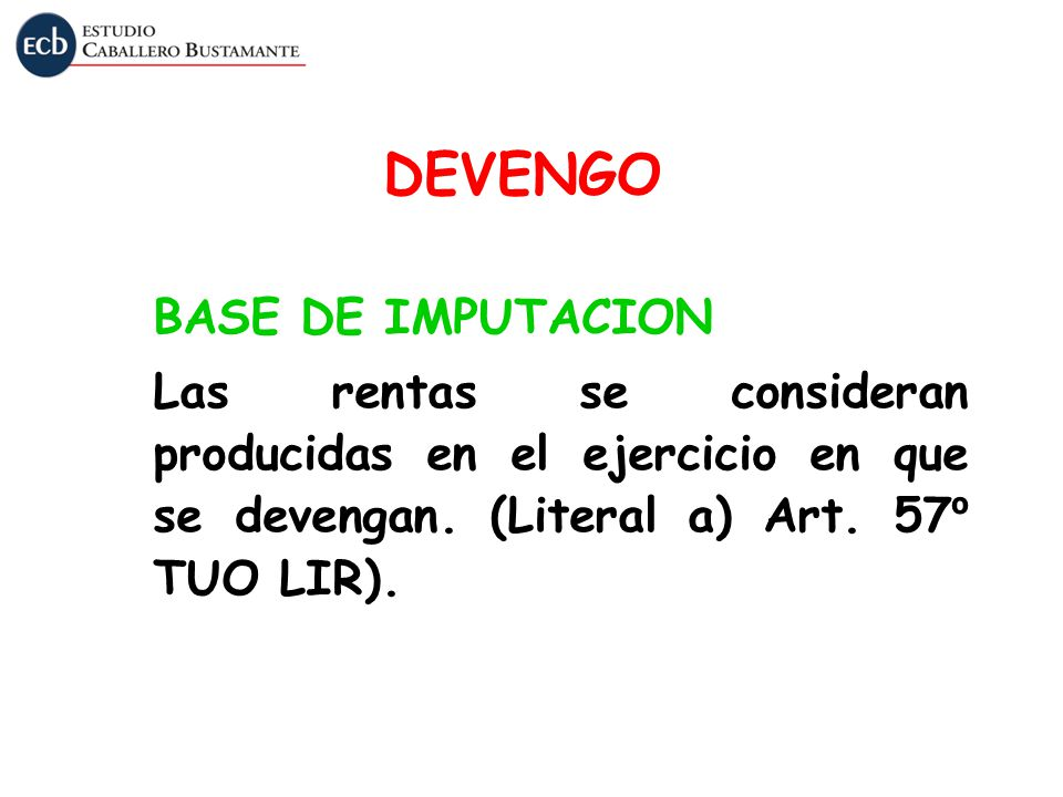 DEVENGO BASE DE IMPUTACION