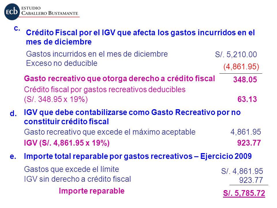 c. Crédito Fiscal por el IGV que afecta los gastos incurridos en el mes de diciembre. Gastos incurridos en el mes de diciembre.
