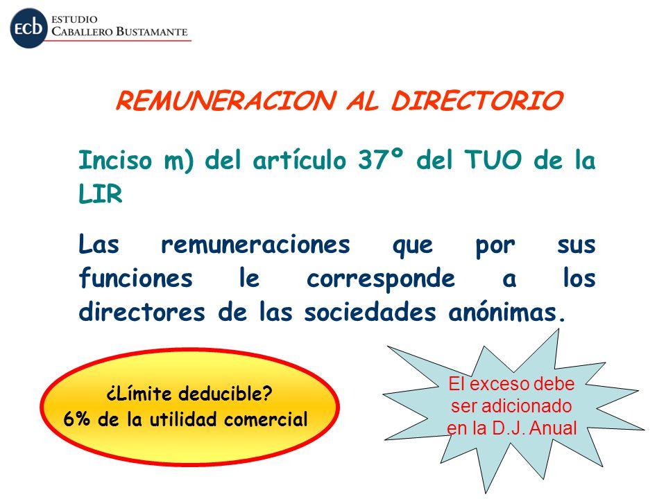 REMUNERACION AL DIRECTORIO 6% de la utilidad comercial