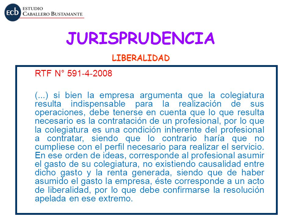 JURISPRUDENCIA RTF N° 591-4-2008