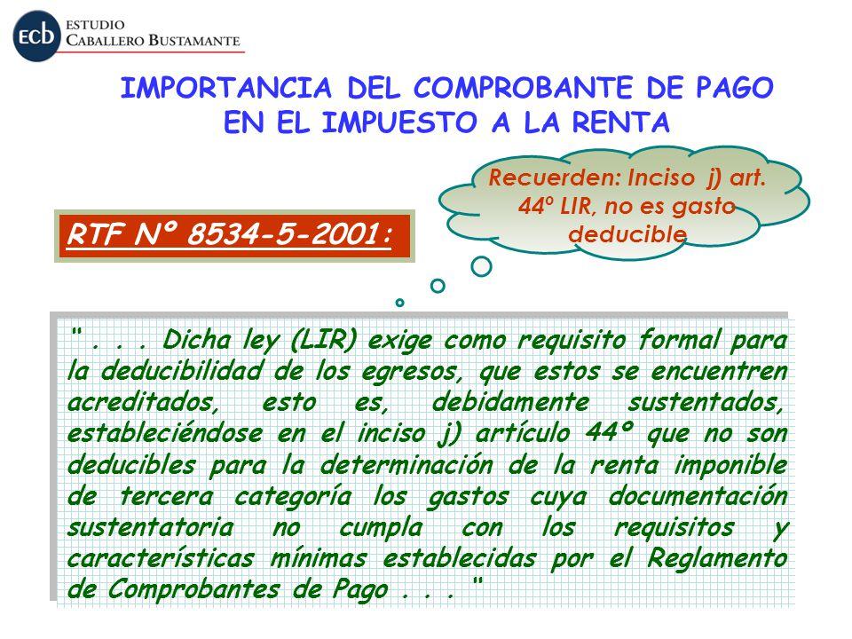IMPORTANCIA DEL COMPROBANTE DE PAGO EN EL IMPUESTO A LA RENTA