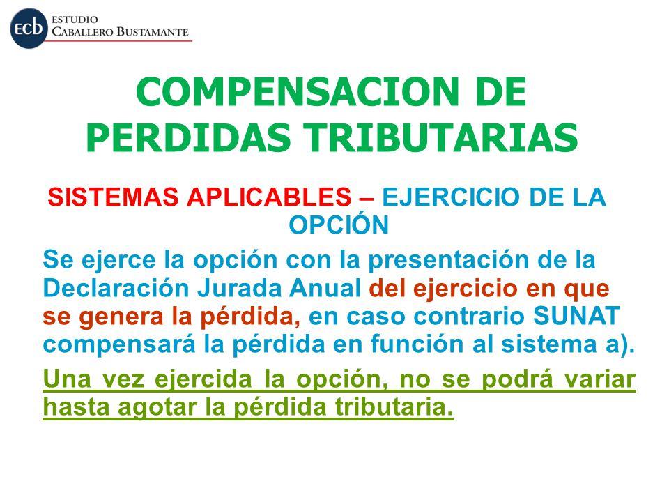 COMPENSACION DE PERDIDAS TRIBUTARIAS