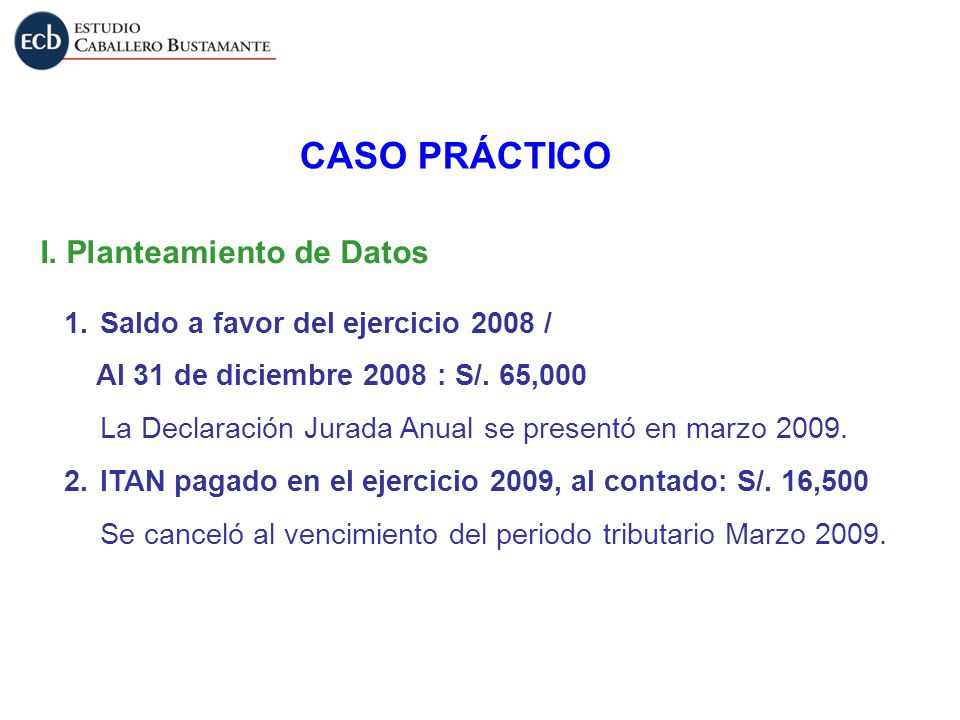 CASO PRÁCTICO I. Planteamiento de Datos