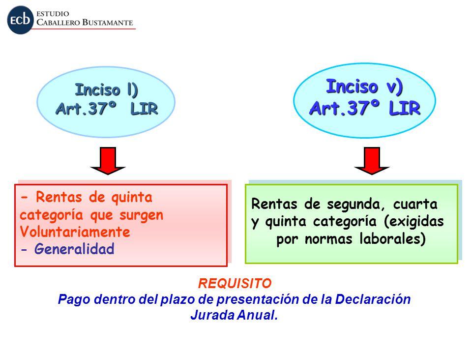 Inciso v) Art.37º LIR Inciso l) Art.37º LIR - Rentas de quinta