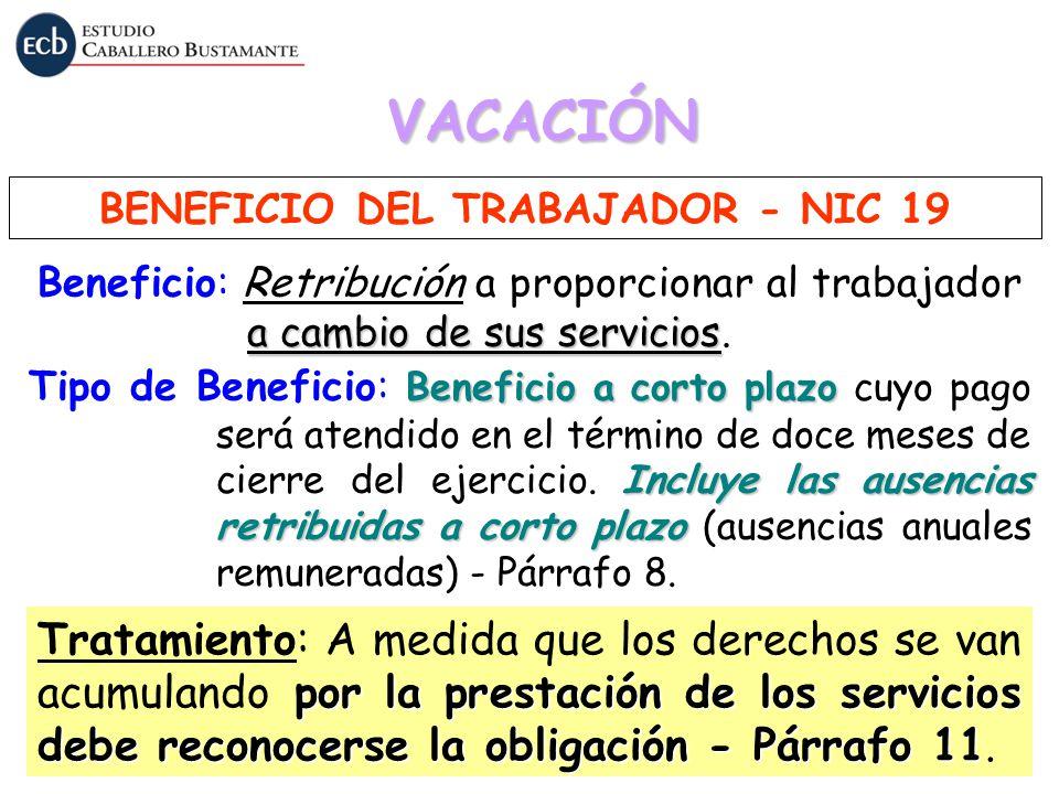 BENEFICIO DEL TRABAJADOR - NIC 19