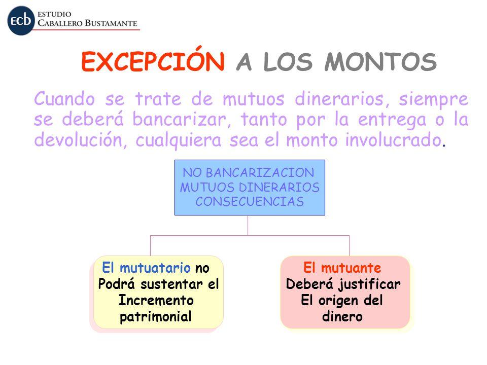 EXCEPCIÓN A LOS MONTOS
