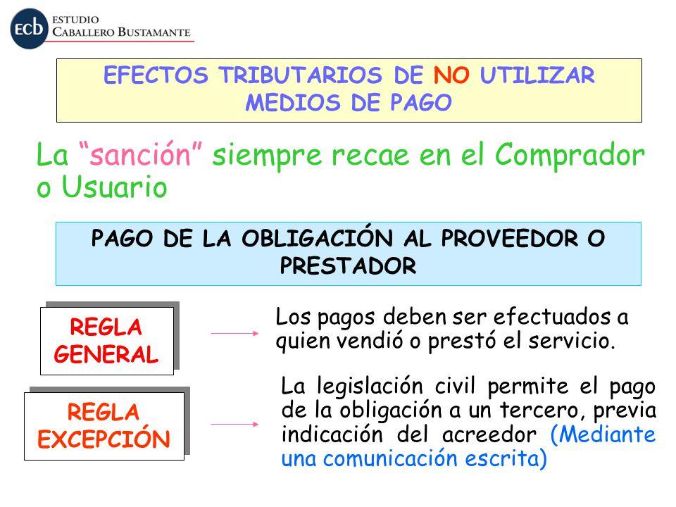 EFECTOS TRIBUTARIOS DE NO UTILIZAR MEDIOS DE PAGO