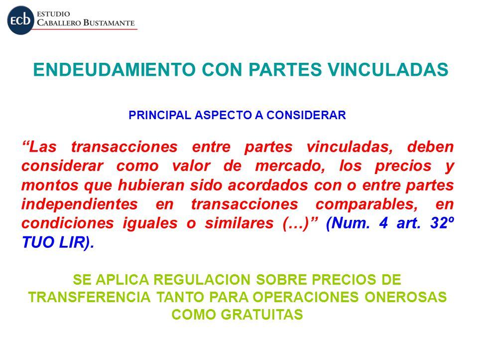 ENDEUDAMIENTO CON PARTES VINCULADAS PRINCIPAL ASPECTO A CONSIDERAR