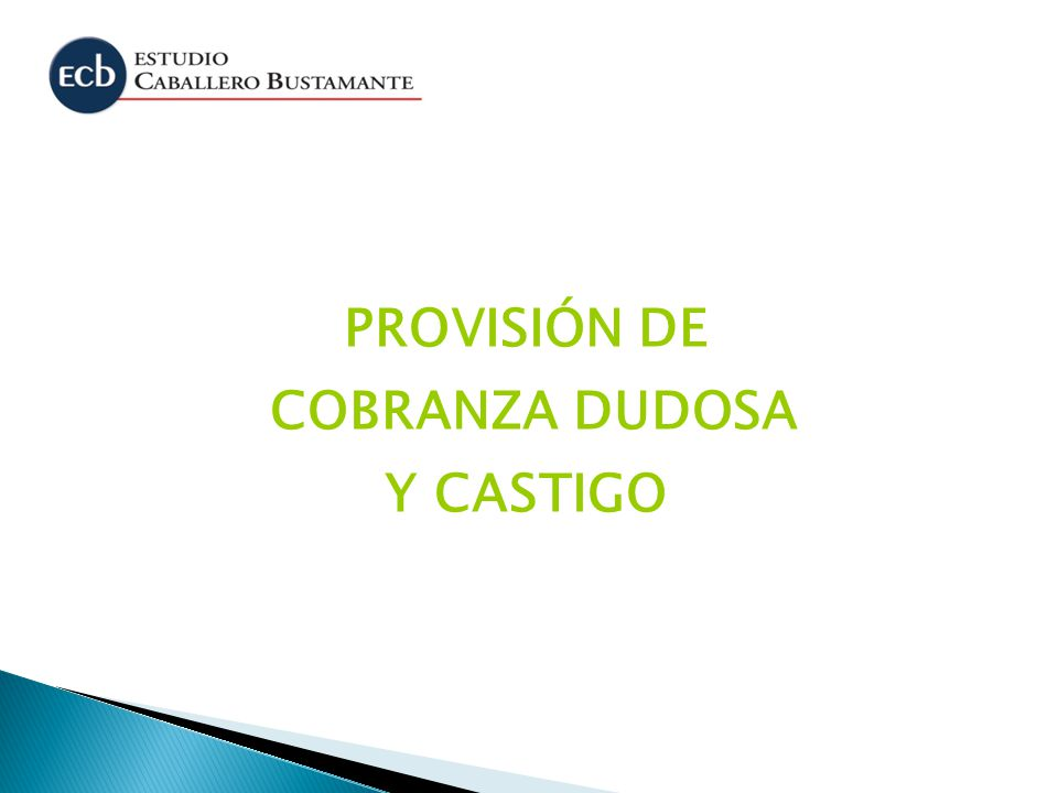 PROVISIÓN DE COBRANZA DUDOSA Y CASTIGO