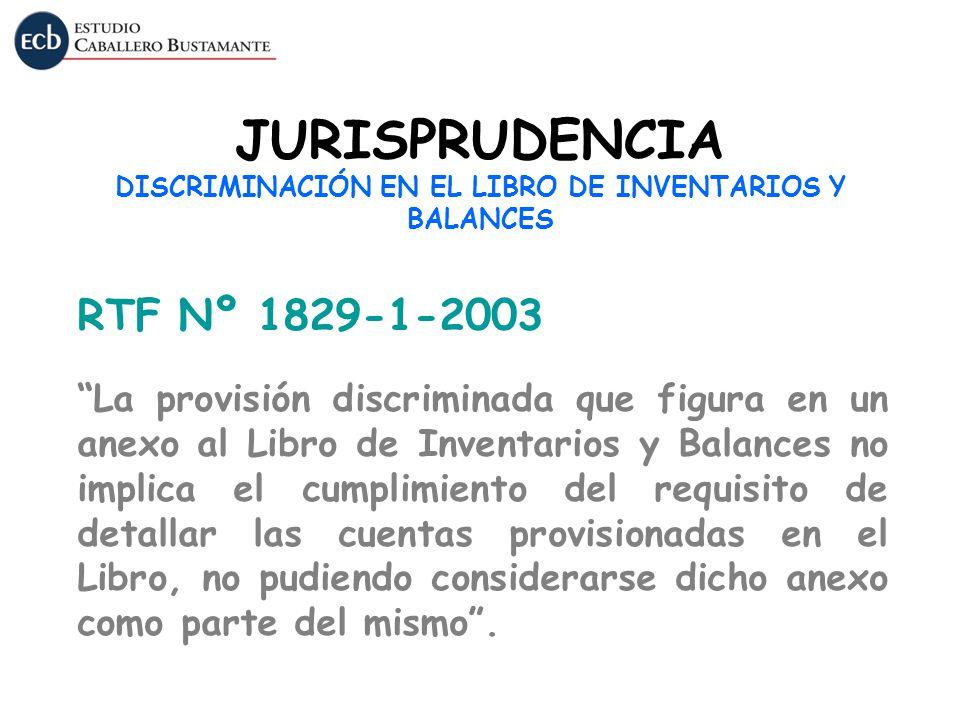 JURISPRUDENCIA DISCRIMINACIÓN EN EL LIBRO DE INVENTARIOS Y BALANCES