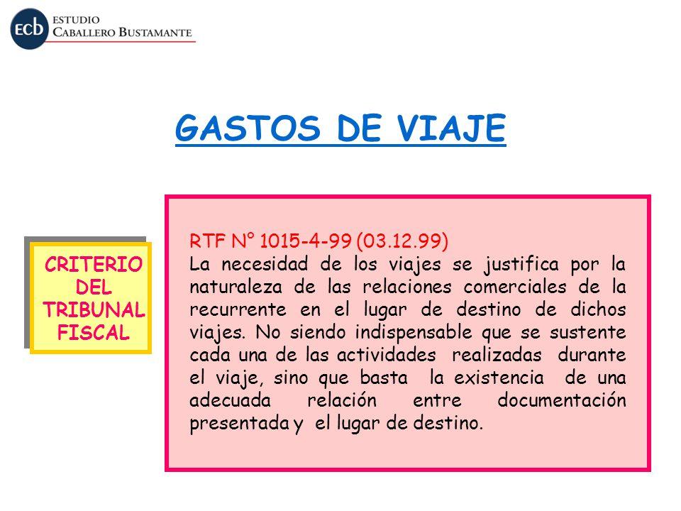 GASTOS DE VIAJE RTF N° 1015-4-99 (03.12.99)