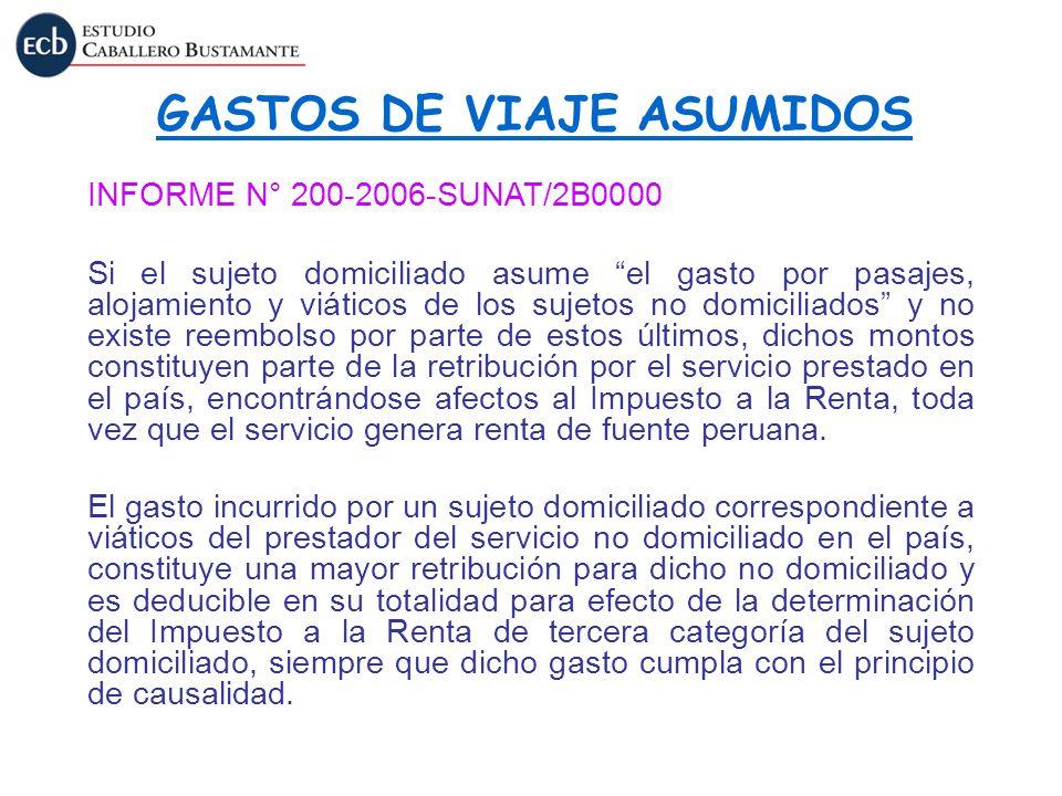 GASTOS DE VIAJE ASUMIDOS
