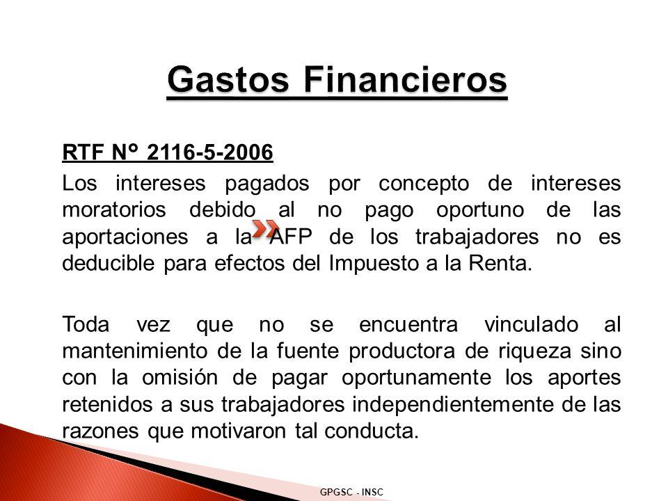Gastos Financieros RTF N° 2116-5-2006