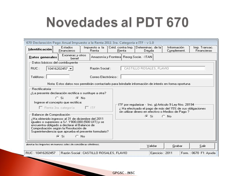 Novedades al PDT 670 GPGSC - INSC