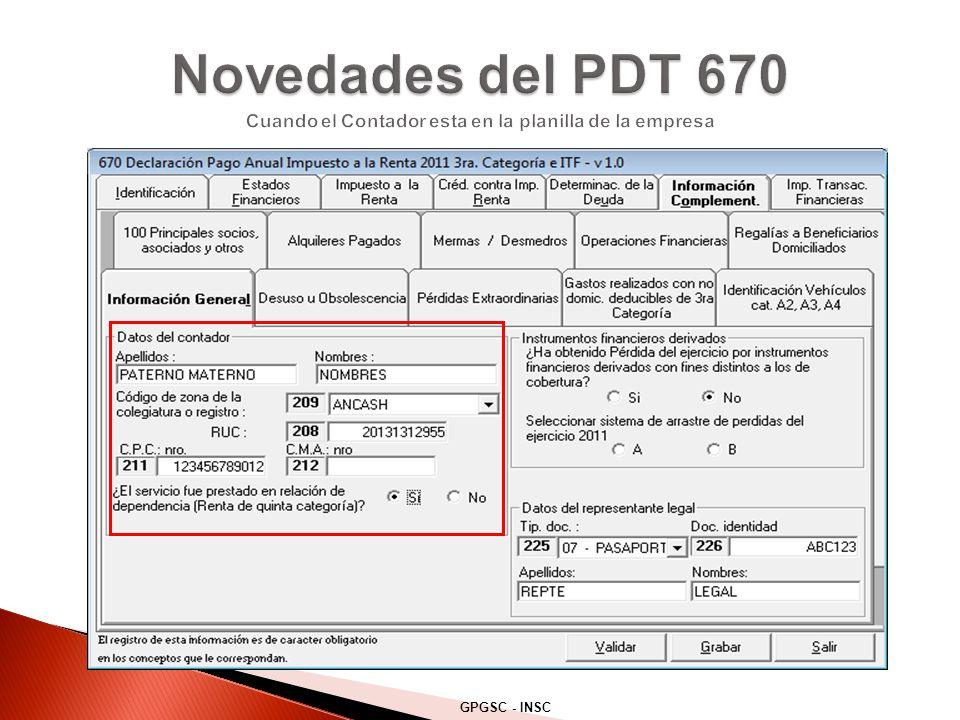 Novedades del PDT 670 Cuando el Contador esta en la planilla de la empresa