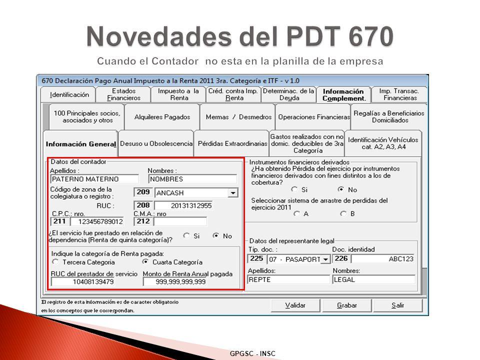 Novedades del PDT 670 Cuando el Contador no esta en la planilla de la empresa